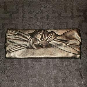 Pura Lopez Metallic Knot Clutch
